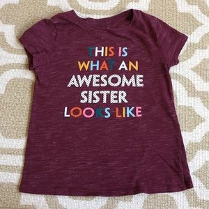 ✴️4/$15 Cat&Jack Awesome Sister t-shirt 5t